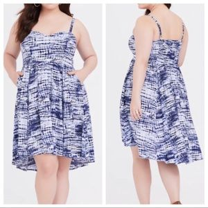 TORRID Blue Tie Dye Challis High Low Sun Dress 1X